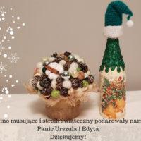 Wino musujące i stroik świąteczny